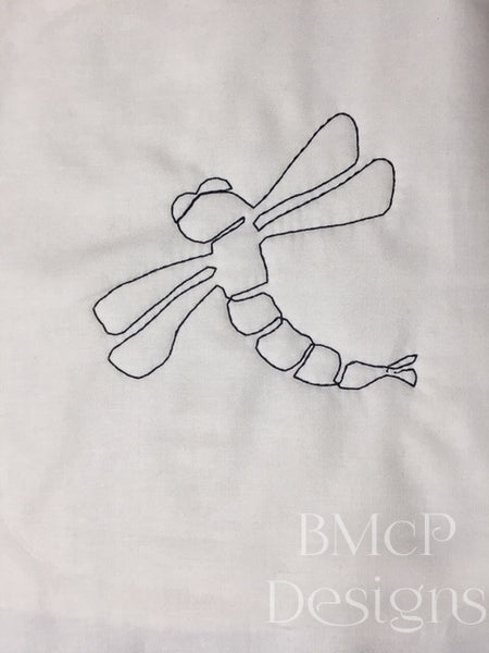 Single dragonfly machine embroidery design for quilting in the hoop