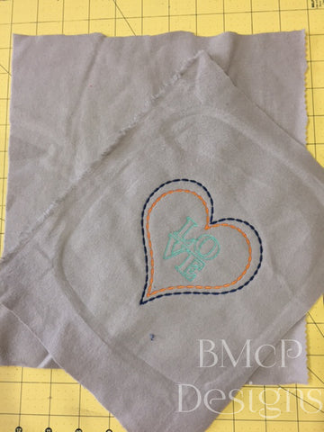 LOVE in your heart machine embroidery design