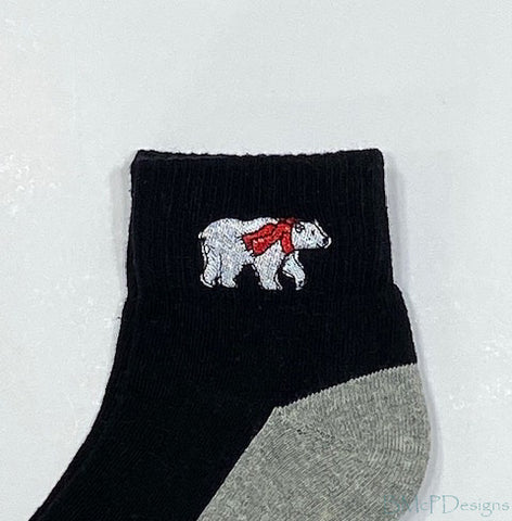 Embroidered Polar Bear Wearing a Scarf Ankle Sock
