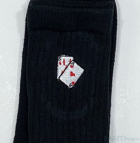 Embroidered Playing Cards Crew Sock