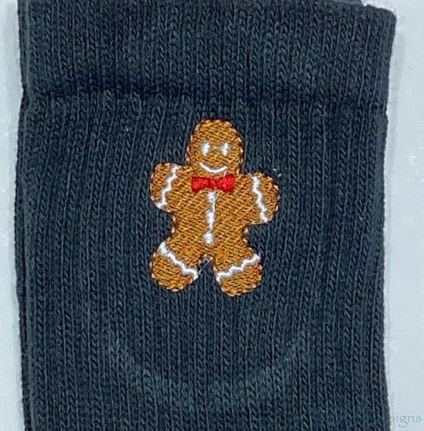 Embroidered Gingerbread Man Crew Sock