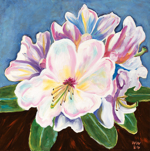 Larry's Rhodies original artwork abstract modern flowers on blue background