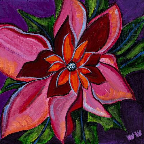 Poinsettia original art abstract flower modern new art