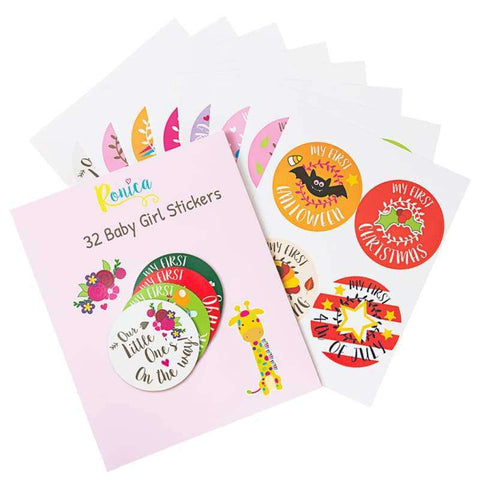 Pack Of 32 Baby Girl Stickers - Holiday Theme | Ronica - Stickers