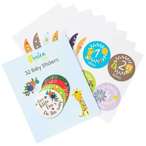Ronica Baby Monthly Stickers For Boys & Girls Set Of 32 Jungle Theme - Stickers
