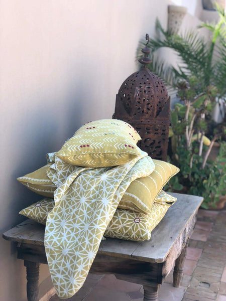 "Jiva Mustard Green Embroidered 140cm, 55"" (Sample) - Nichola Taylorson"