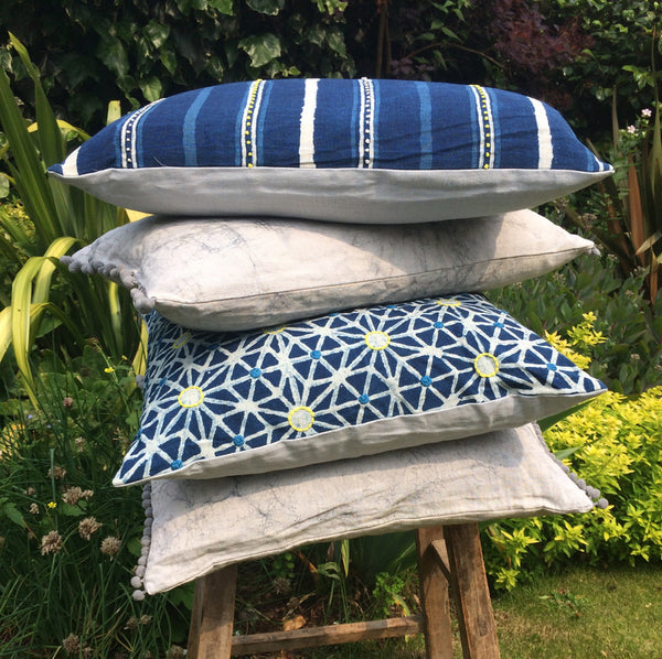 Taraka Indigo Embroidered Cushion cover - Nichola Taylorson