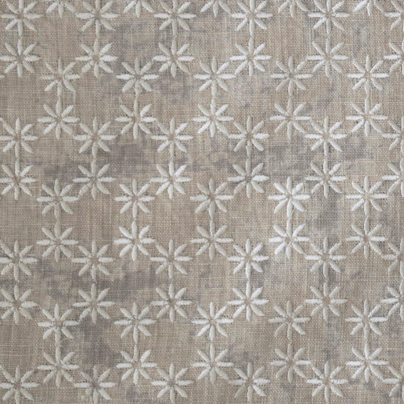 "Jasmine Natural Embroidered 140cm, 55"" (Sample) - Nichola Taylorson"