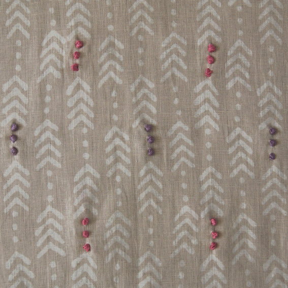 "Jiva Natural Embroidered 140cm, 55"" (Sample) - Nichola Taylorson"