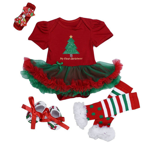 4 Pcs Green Holiday Dress