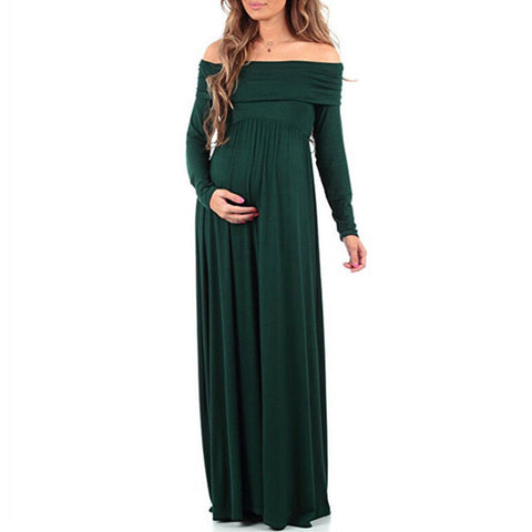Off-Shoulder Maternity Gown for Photoshoot