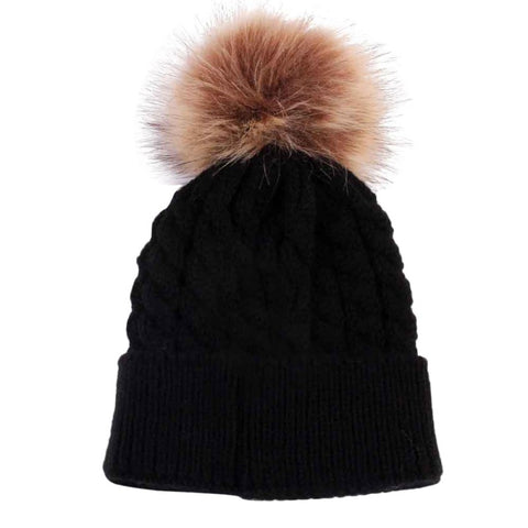 Fur Ball Knitted Hat