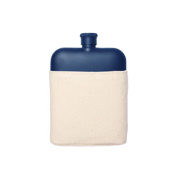 Navy 6oz Flask with Canvas Sleeve
