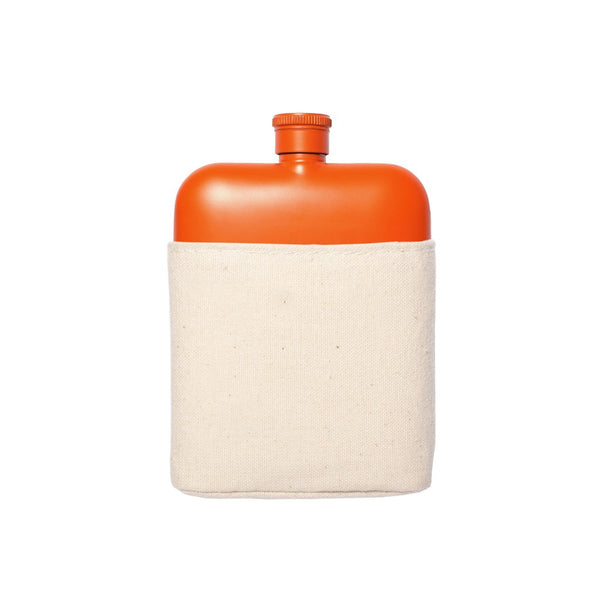 Orange 6oz Flask with Canvas Sleeve