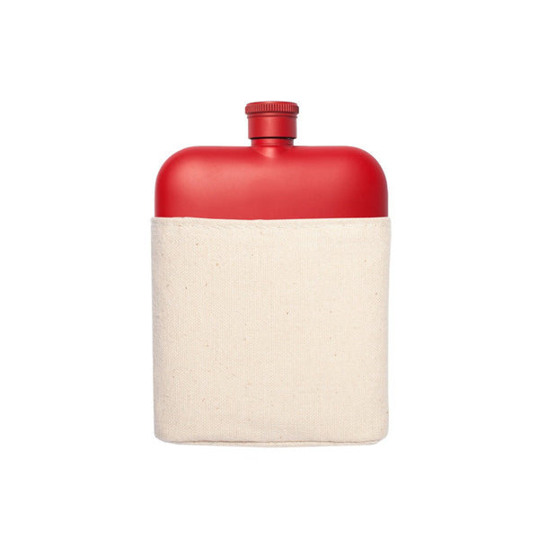 Red 6oz Flask with Canvas Sleeve