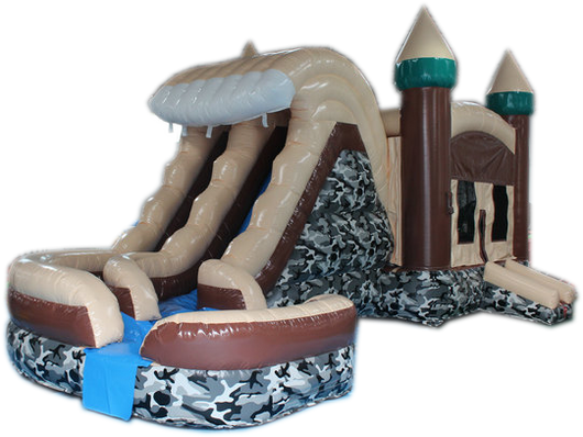 29' Camo Hideout Helix Bounce House Wet or Dry Water Slide Combo