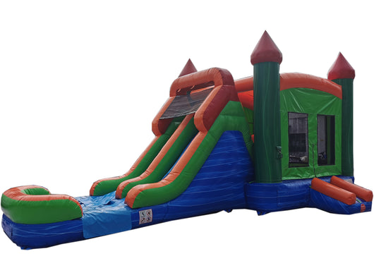 28' Blue, Green & Red Marble Bounce House Wet or Dry Water Slide Combo