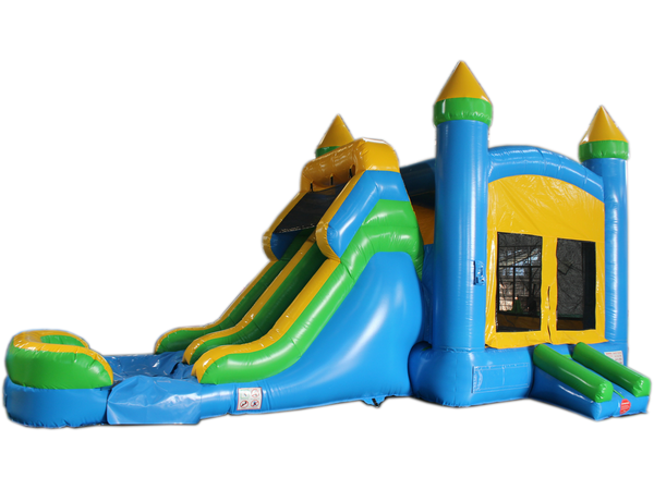 28' Blue & Yellow Bounce House Wet or Dry Water Slide Combo