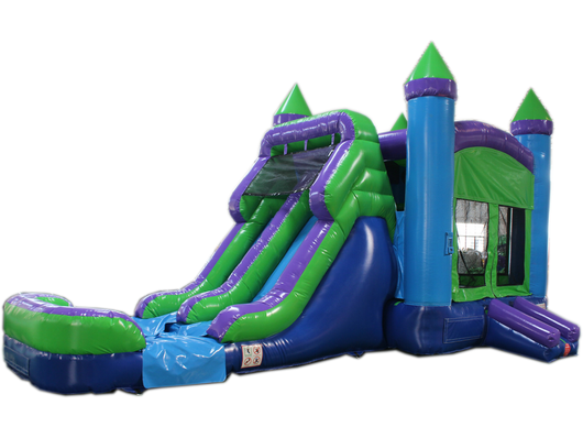 28' Green N Purple Bounce House Wet or Dry Water Slide Combo