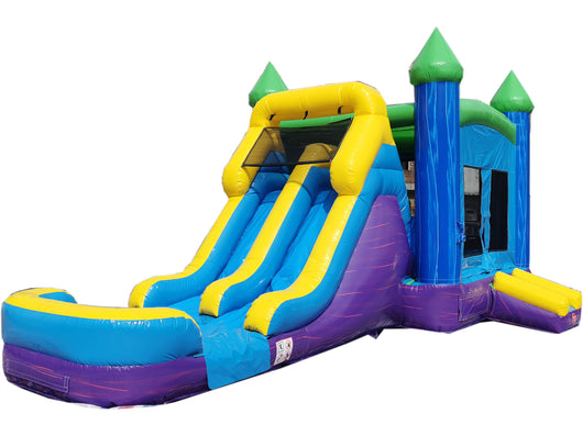 28' Purple, Blue & Green Marble Bounce House Wet or Dry Water Slide Combo
