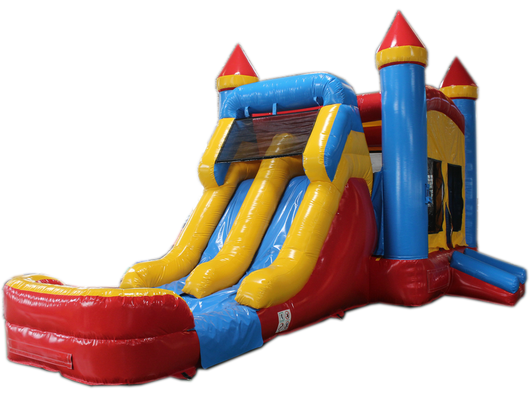 28' Red, Yellow, Blue Bounce House Wet or Dry Water Slide Combo