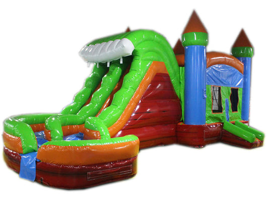 29' Red, Green & Blue Marble Helix Bounce House Wet or Dry Water Slide Combo