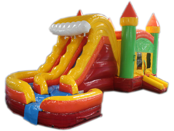 29' Green, Yellow & Red Marble Helix Bounce House Wet or Dry Water Slide Combo