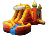 29' Orange, Yellow & Red Marble Helix Bounce House Wet or Dry Water Slide Combo