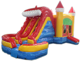 29' Red, Yellow & Blue Marble Helix Bounce House Wet or Dry Water Slide Combo