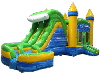 29' Blue & Green Helix Bounce House Wet or Dry Water Slide Combo
