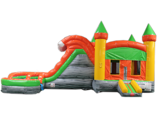 29' Orange & Green Helix Bounce House Wet or Dry Water Slide Combo