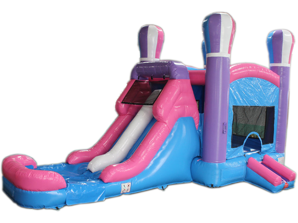 28' Pink Balloon Bounce House Wet or Dry Water Slide Combo