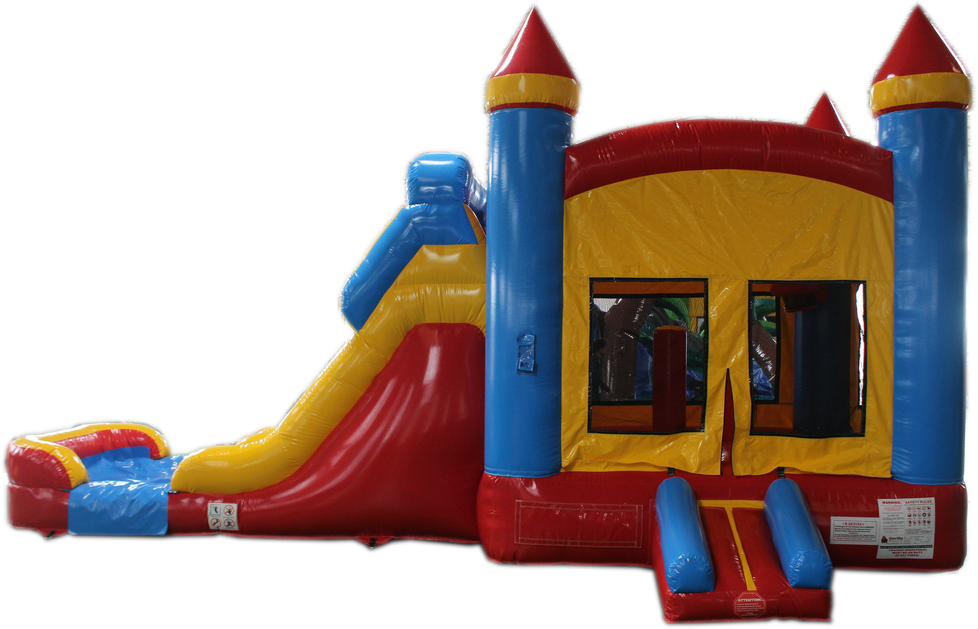 28 Red Yellow Blue Bounce House Wet Or Dry Water Slide