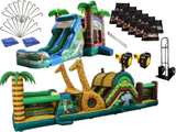 Bounce House Startup Package Crazy Tropical Safari Obstacle Water Slide Combo #20, Commercial Grade
