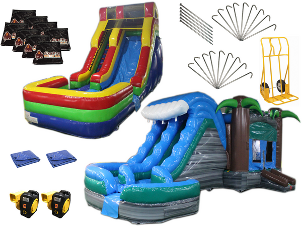 Bounce House Helix Water Slide Startup Package #16, Commercial Grade