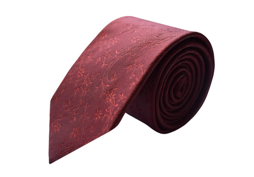 3 folds flower ton on ton tie burgundy jacquard - Nicolosi