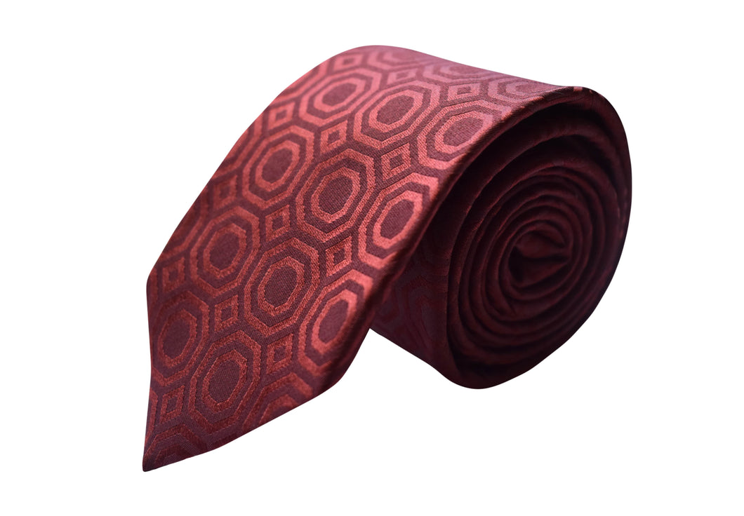 3 folds tie geometric ton on ton burgundy jacquard - Lucca
