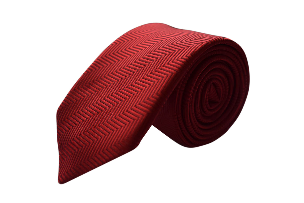 Chewron 3 folds red tie jacquard - Caen