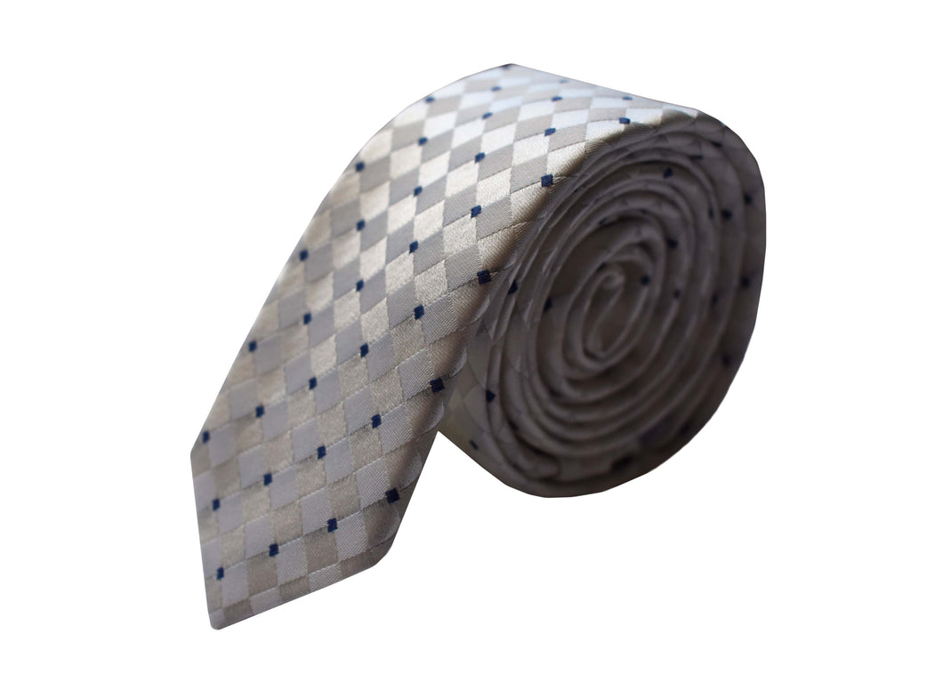 Slim 3 folds classic white tie jacquard - Paceco