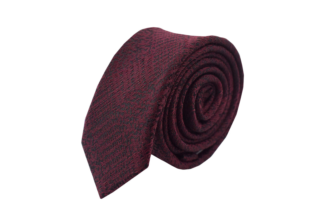 Slim 3 folds tie burgundy tartan silk & wool jacquard . Old town