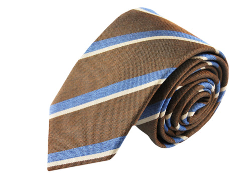 3 folds Mogador brown tie jacquard - Cambridge