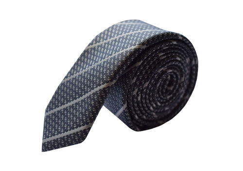 Slim 3 folds striped grey tie jacquard - Stoccolma