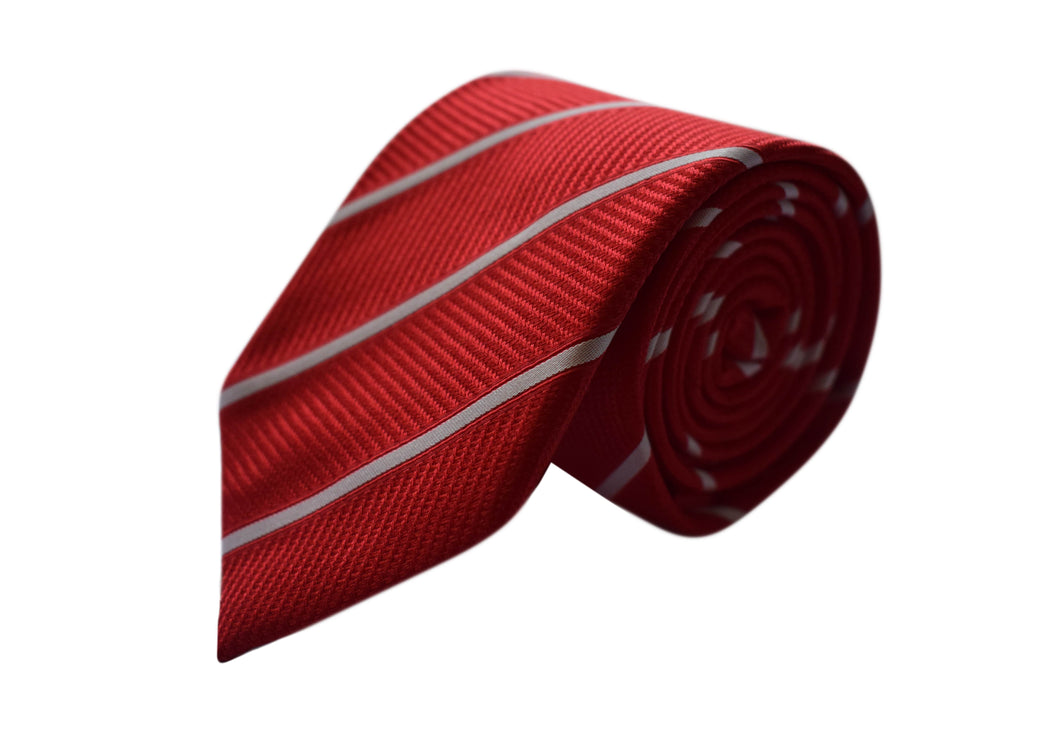 Striped Red 3 folds tie jacquard - Solbiate