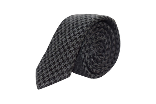 Slim 3 folds tie pied de poule grey silk & wool jacquard - Angel