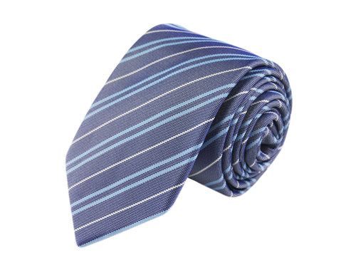 Basket weave blue striped 3 folds tie jacquard - Loano