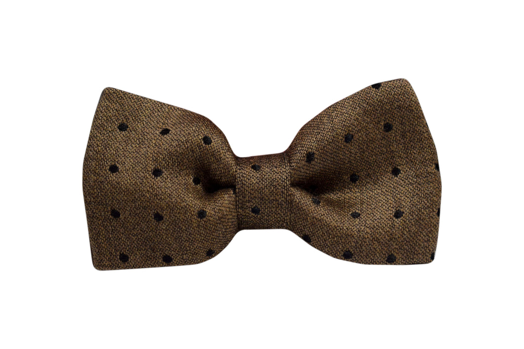 Pretied Bow Tie light beige polka dots silk & wool jacquard - Soho