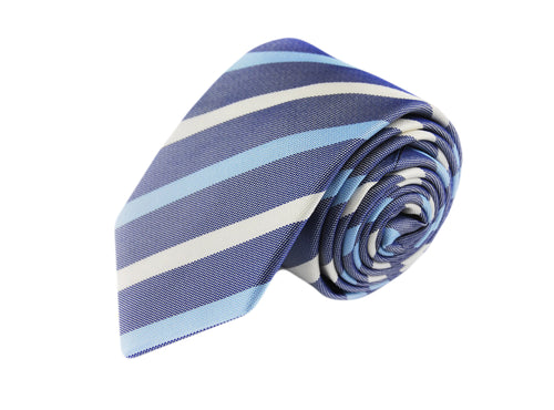 Basket weave blue striped 3 folds tie jacquard - Pieva