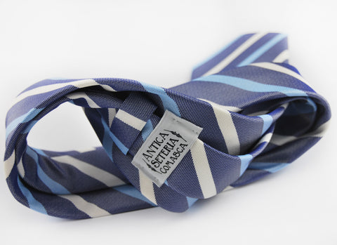 Image of Basket weave blue striped 3 folds tie jacquard - Pieva - Antica Seteria Comasca, Cravatta - Antica Seteria Comasca, Antica Seteria Comasca - Antica Seteria Comasca, seteriacomasca - Antica Seteria Comasca