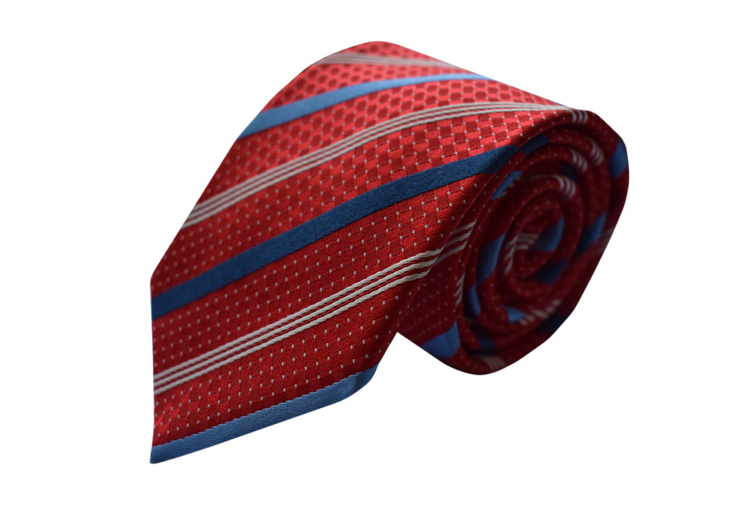Striped 3 folds red tie jacquard - Portofino