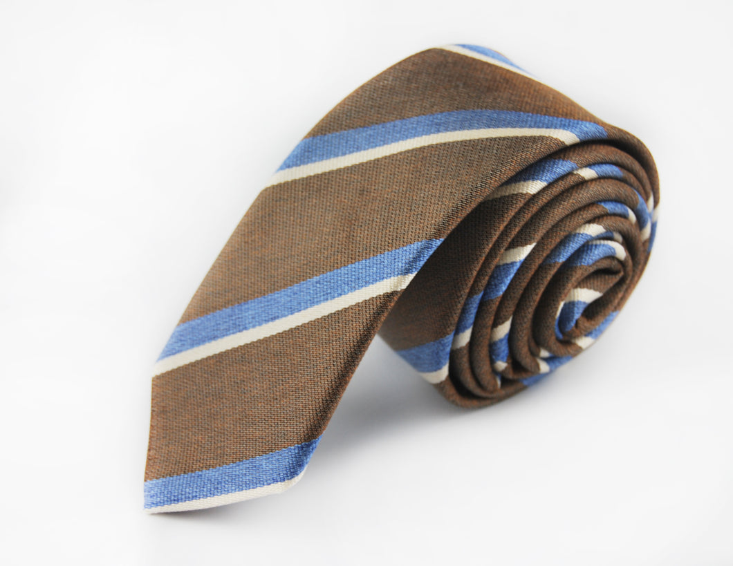 Slim 3 folds Mogador brown tie jacquard - Cambridge - Antica Seteria Comasca, Cravatta - Antica Seteria Comasca, Antica Seteria Comasca - Antica Seteria Comasca, seteriacomasca - Antica Seteria Comasca